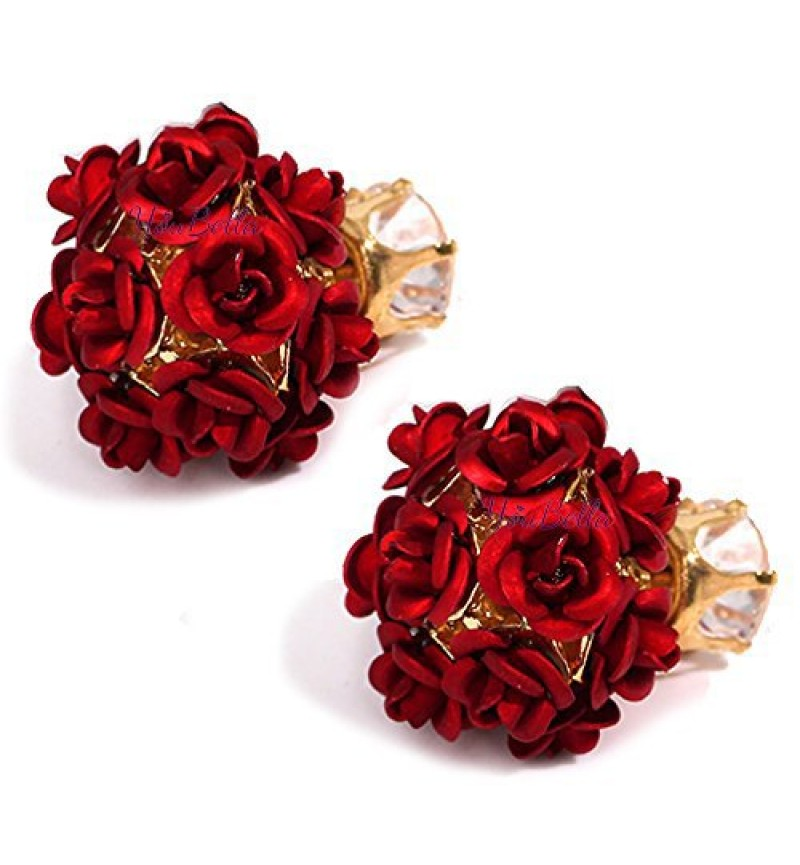 Rose Shape Two Sided Fancy Party Wear Earrings for Girls and Women