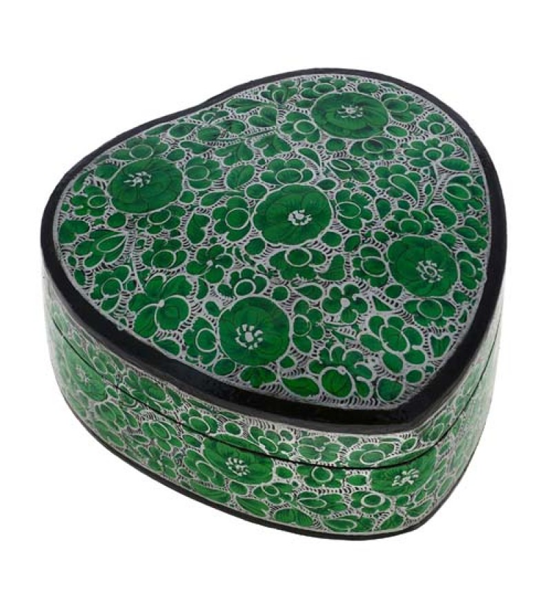 Handmade Paper Mache Heart Trinket Green Box Decoration - Beautiful Indian Gifts